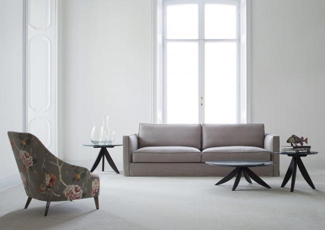Sofa mit Leinenbezug Danton - Berto Salotti